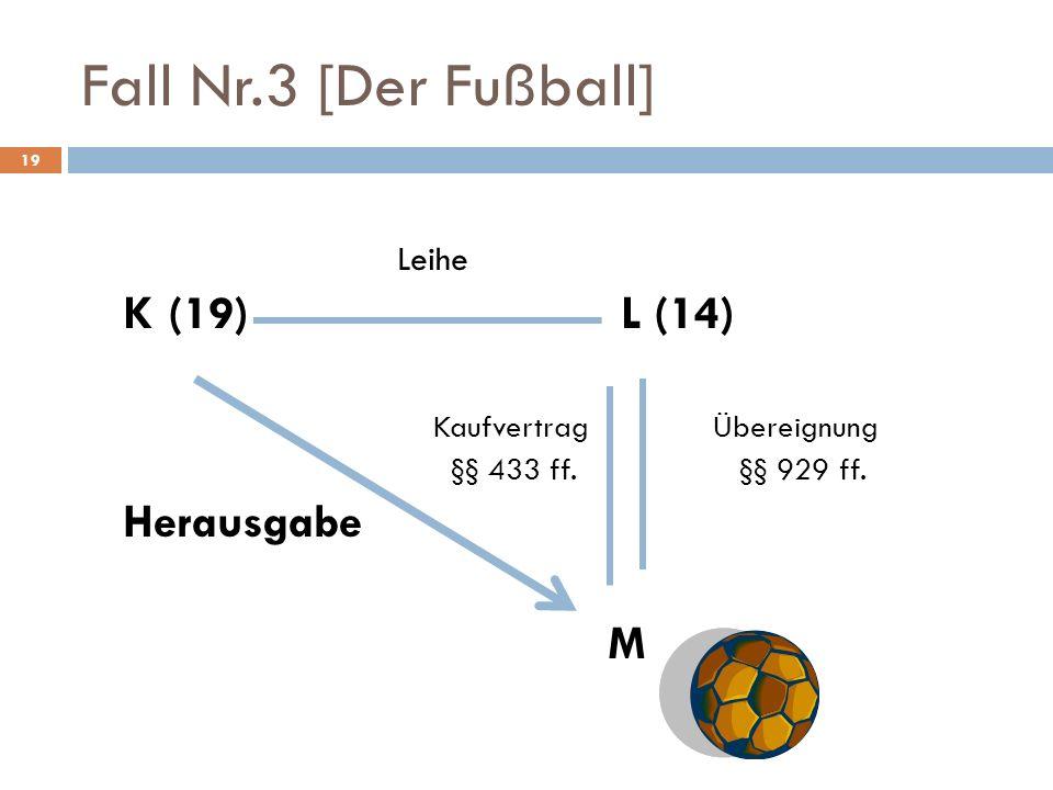 Fall Nr.3 [Der Fußball] K (19) L (14) Herausgabe M Leihe